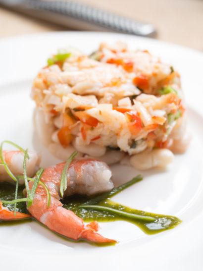 Diced anglerfish, prawns, shrimps, rape, seafood, fish, lime, coriander vinaigrette, foodies, chef, cook, home chef, madrid, rosa veloso