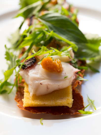 Octopus, green curry tamal, crunchy paprika, mango chutney, seafood, shellfish, fish, asian food, foodies, chef, cook, home chef, madrid, rosa veloso