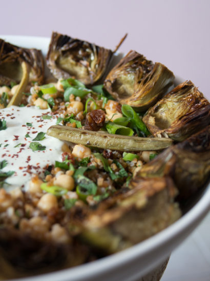 roasted artichokes, bulgur, chickpeas, salad, oven, mediterranean, vegetarian, foodies, chef, cook, home chef, madrid, rosa veloso